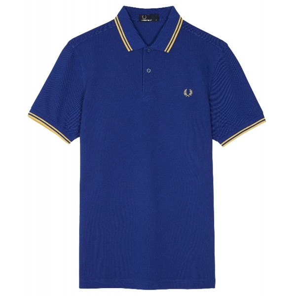 Polo Fred Perry M3600 Fit Bleu bandes jaune