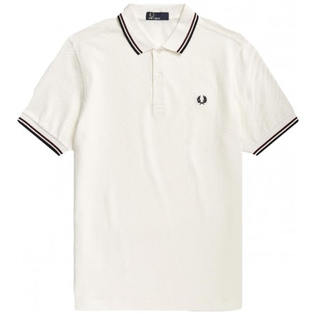 Polo Fred Perry M3600 Fit blanc bandes bordeaux et bleu