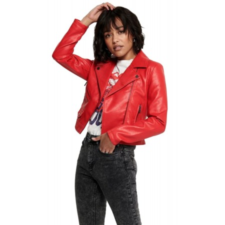 Blouson Perfecto Simili cuir Rouge Only