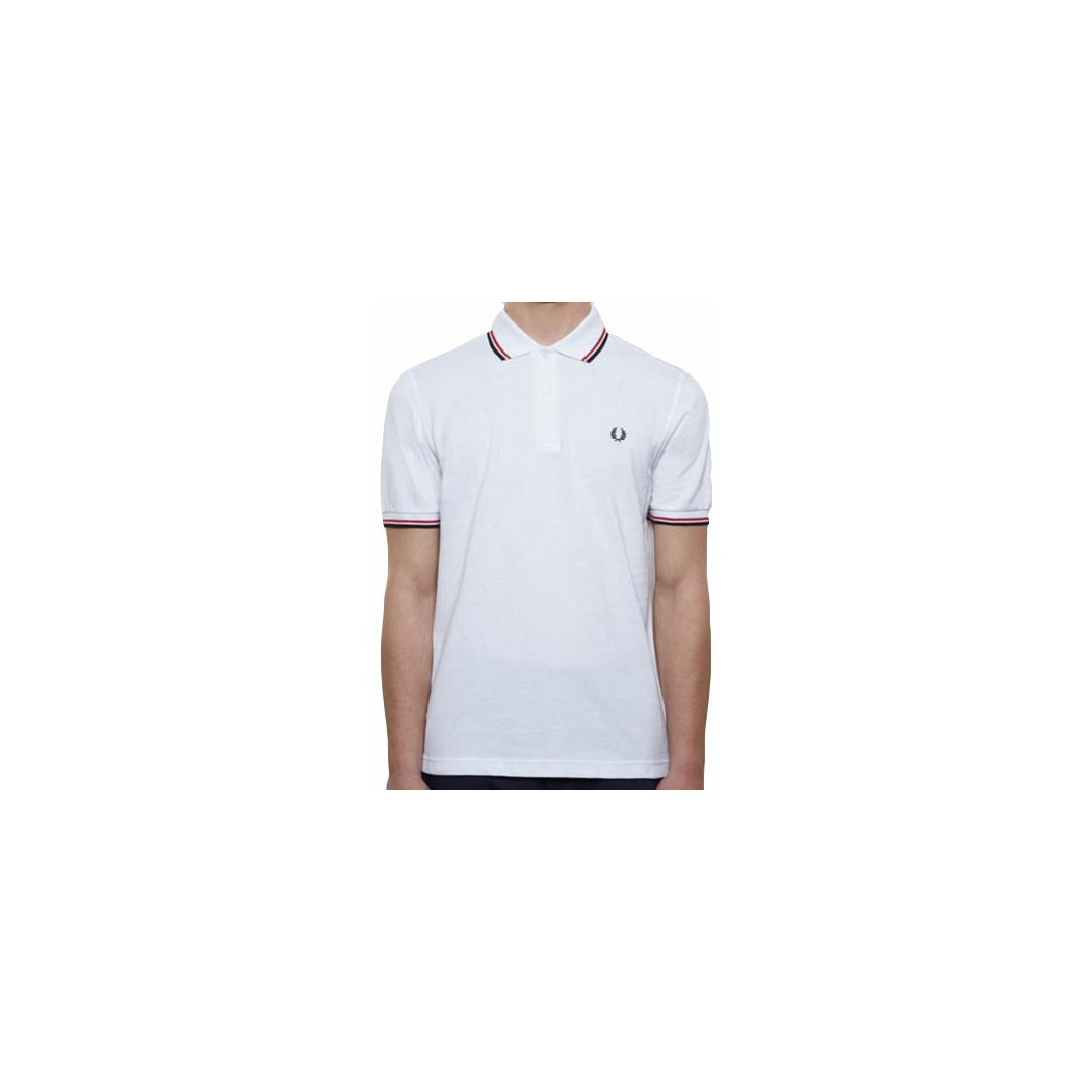 Polo Fred Perry M3600 Slim Fit marine bandes blanche/rouge