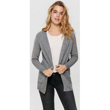CARDIGAN OUVERT EN MAILLE GRIS ONLY