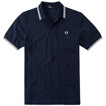 Polo Fred Perry M3600 Slim Fit marine bandes blanche