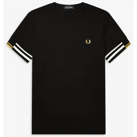 TEE SHIRT FRED PERRY CUFF BLACK