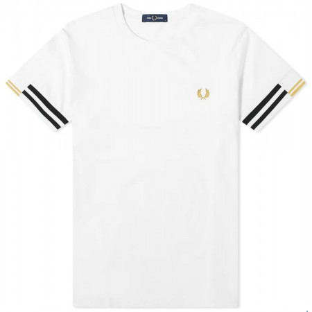 TEE SHIRT FRED PERRY CUFF WHITE