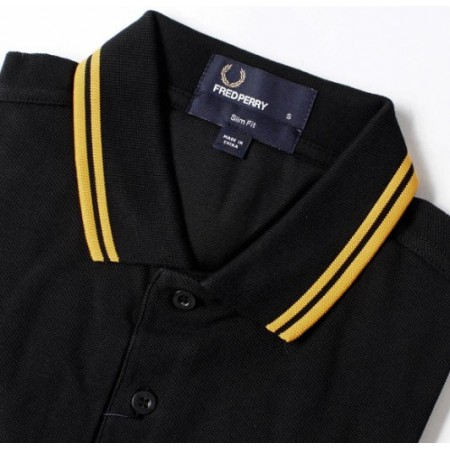 Polo  FRED PERRY  noir bandes jaune